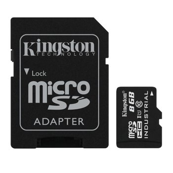 Карта памяти MicroSDHC 8GB UHS-I Class 10 Kingston Industrial Temperature + SD адаптер (SDCIT/8GB)